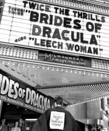 More classic horror marquee action as Milwaukee gets in on the horror fun with a double bill of The Brides of Dracula and The Leech Woman, plus some great ballyhoo outside the theater.